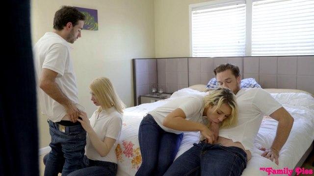 Жаркая групповуха молодых прямо на глазах у родителей #3