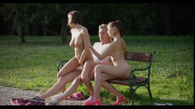 Возбужденная троица замутила яркий ЖМЖ секс в парке на лужайке #5